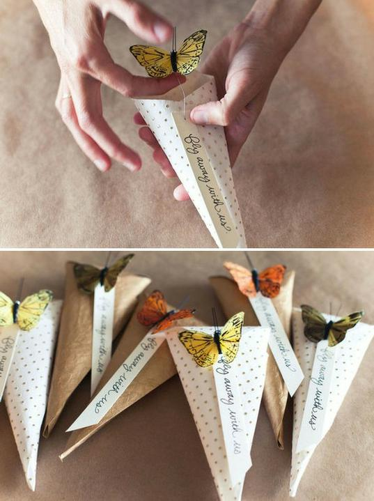 Wedding DIY ideas - Butterfly confetti/rice holders