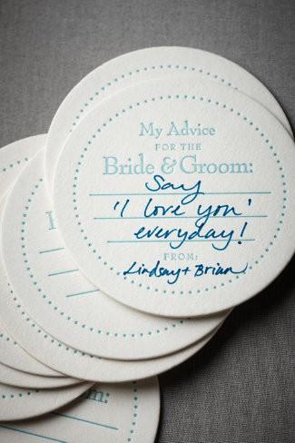 Wedding DIY ideas - wedding tips coasters!