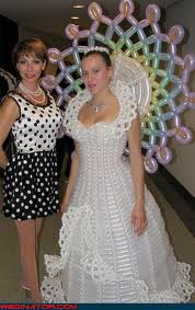 Some wedding pics to make you smile :) - wedding dress made from balloons!