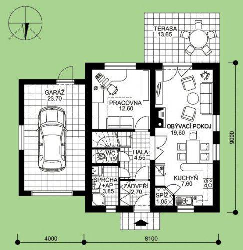Místo pracovny bude kotelnička, koupelnička bude zmenšená aby bylo možné udělat chodbičku, kterou se bude procházet do garáže...