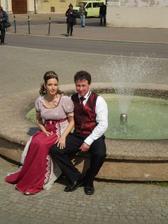 na náměstí ve Slavkově, u naší oblíbené fontány
