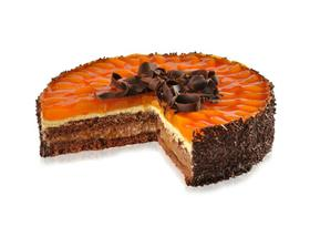 Noblesní přitažlivá kombinace šťavnatých mandarinek a dvou lahodných krémů, tmavého čokoládového a světlého s citrusovou příchutí.