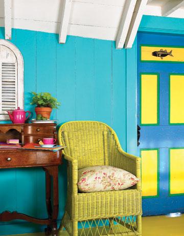 Obývačka bude - lážo plážo relax :-) - jedna stena bude sýto tyrkysová