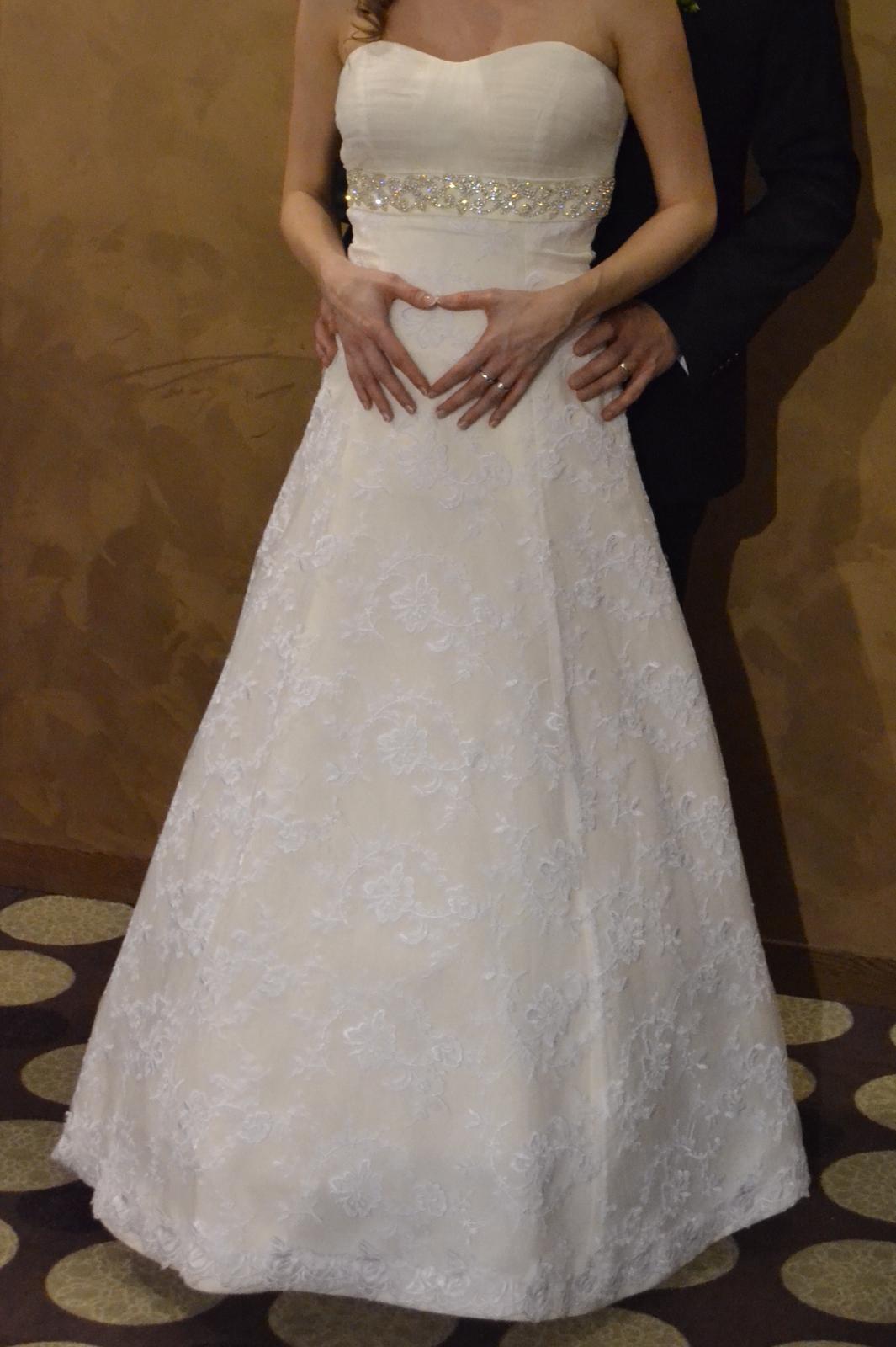 Čipkované svadobné šaty + darček (závoj,bolerko) - Obrázok č. 2