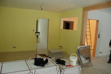 Pasivní dům - pohled přes obývák, vzadu je pracovna