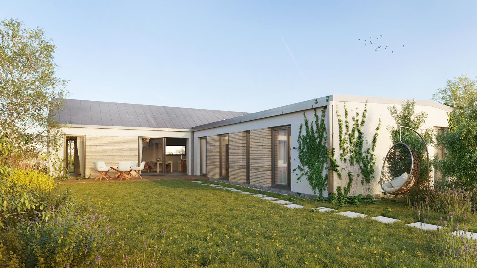 Nové bydlení ve městě - původní vizualizace domu ze zadní strany