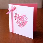 Svatební oznámení LILLY s výřezem - růžové,