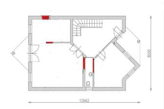 Nase upravene prizemie: chodba, pracovna, WC, kuchyna, obyvacka