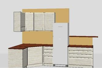 horna skrinka pri chladnicke bude presklenena, v roznej skrinke dolu bude plne zabudovana umyvacka