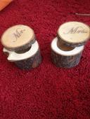 Dřevěné krabičky na prstýnky Mr.&Mrs.,