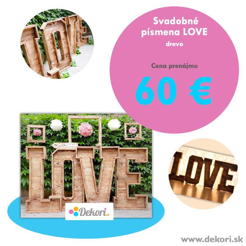 Svadobné písmena LOVE (drevo) - Obrázok č. 1