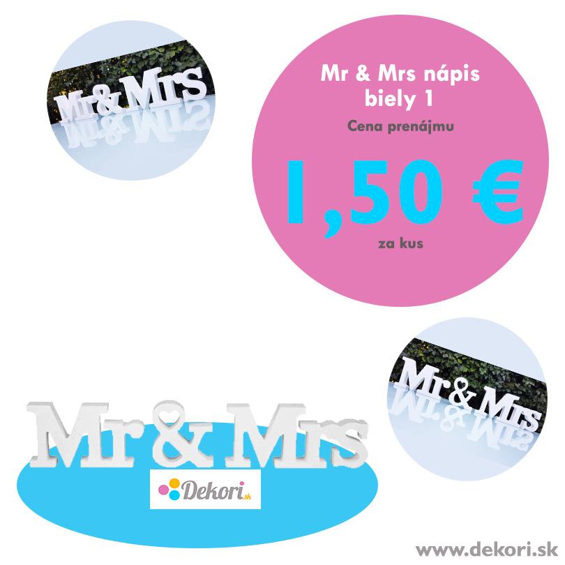 Mr & Mrs nápis biely 1 - Obrázok č. 1