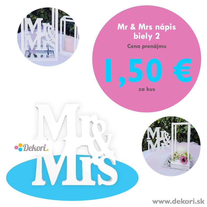 Mr & Mrs nápis biely 2 - Obrázok č. 1