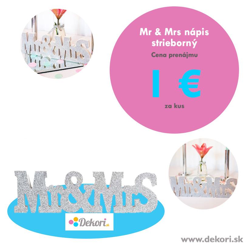 Mr & Mrs nápis strieborný - Obrázok č. 1
