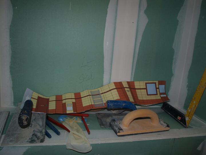 Stavba - 2. a 3. týden - Toto byl skutečný 3D návh koupelny, než ho pánové rozlepili:)
