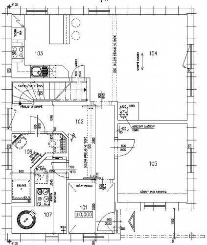 Stavíme s Rýmařovem - Přízemí domku - zádveří, pracovna, obytná místnost (obyvákokuchyně), koupelna, technická místnost