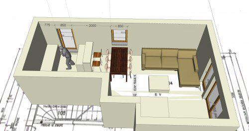 Stavíme s Rýmařovem - Obytná místnost – 3D náhled rozmístění oken. Sedačka bude rohová, okna budou šíře 1000mm, francouzská okna budou jen dvě.