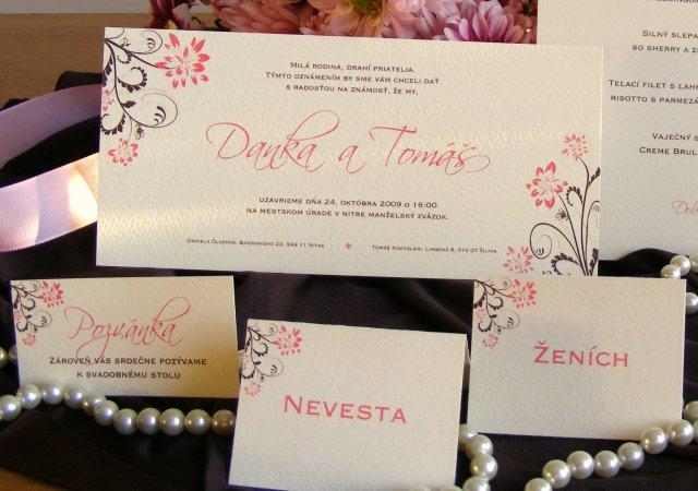 Zopar detailov svadby - naše tlačoviny