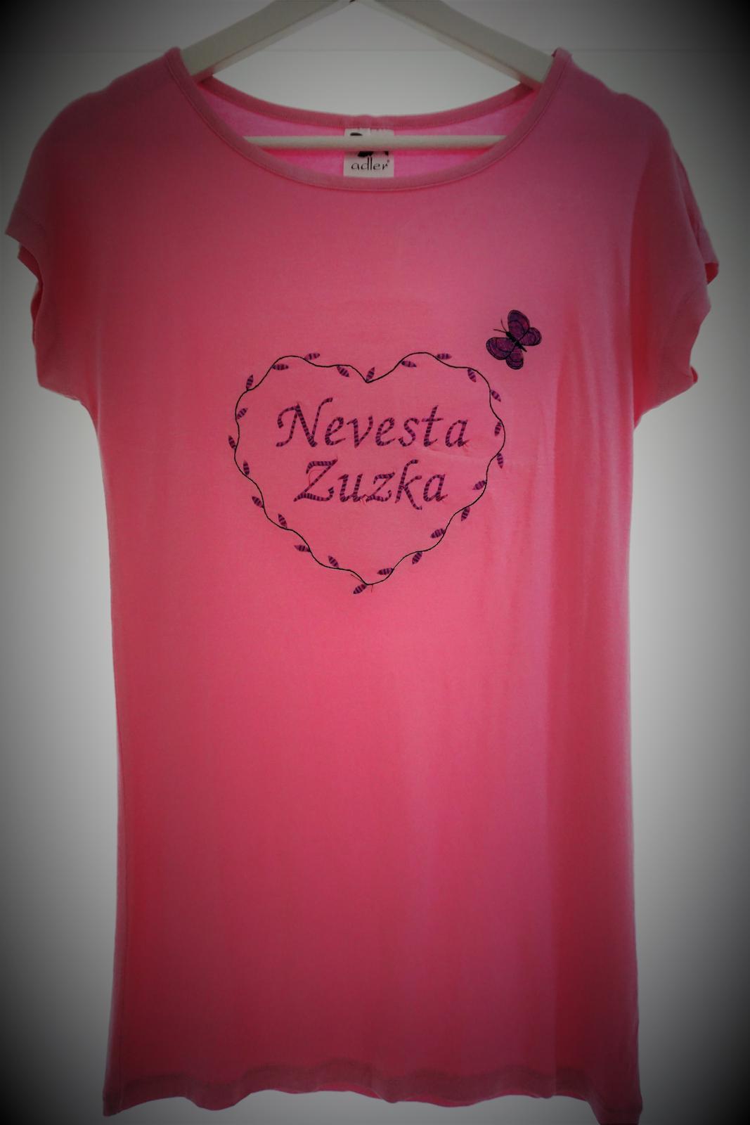 Vyšívané tričko-šaty nevesta - Obrázok č. 1