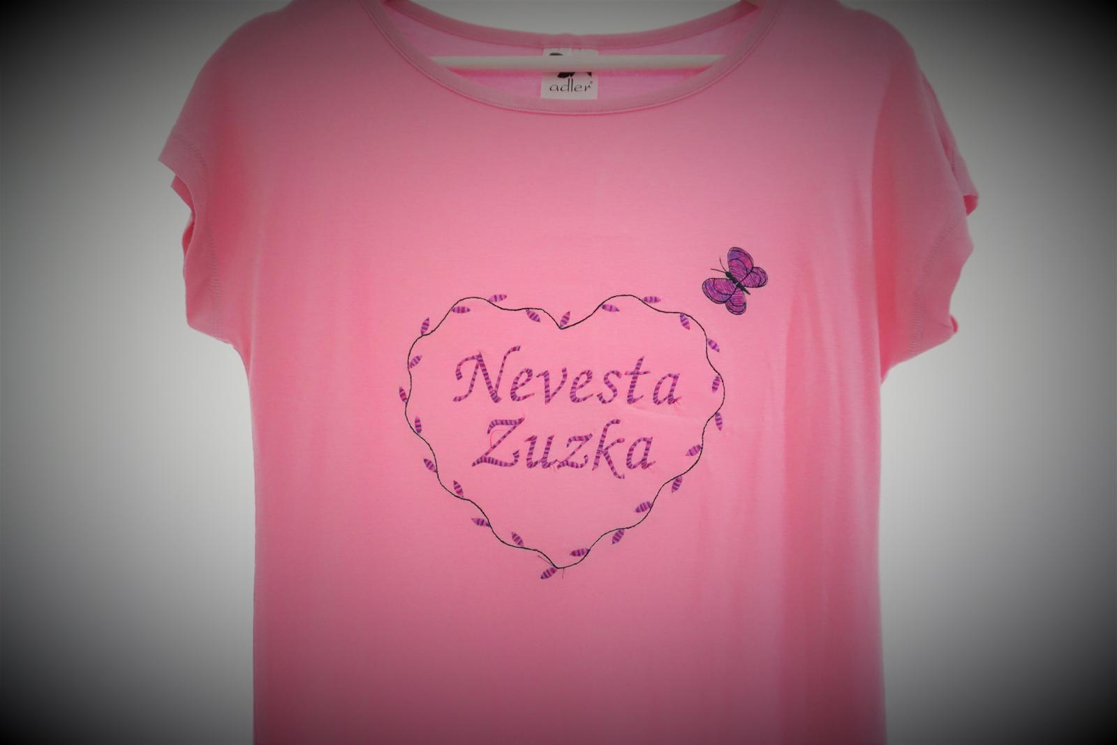 Vyšívané tričko-šaty nevesta - Obrázok č. 2