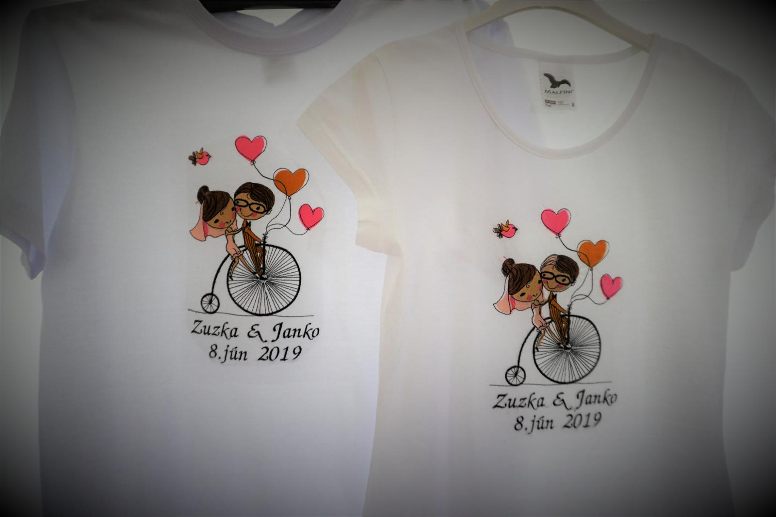 Vyšívaný set pre mladomanželov-bicykel - Obrázok č. 2