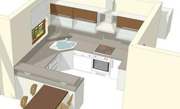 Návrh kuchyně: spodní skříňky bílá vysoký lesk, vrchní skříňky wenge. Deska není ještě rozhodnutá. Podlaha hodně světle béžová, až bílá.