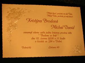 Naše svatební oznámení. Přesně podle našich představ:)))