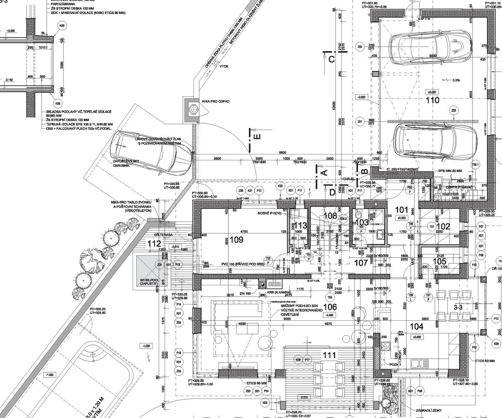 Začínáme..pokračujeme..finišujeme ;-) - 1.NP - 101 vstupní hala; 102 šatna; 103 koupelna; 104 kuchyň, 105 spížka; 106 obývací pokoj; 107 chodba; 108 schody; 109 pracovna + host. pokoj; 110 garáž; 111 podstřešená terasa; 112 plocha pro whirpool, 113 tech. místnost