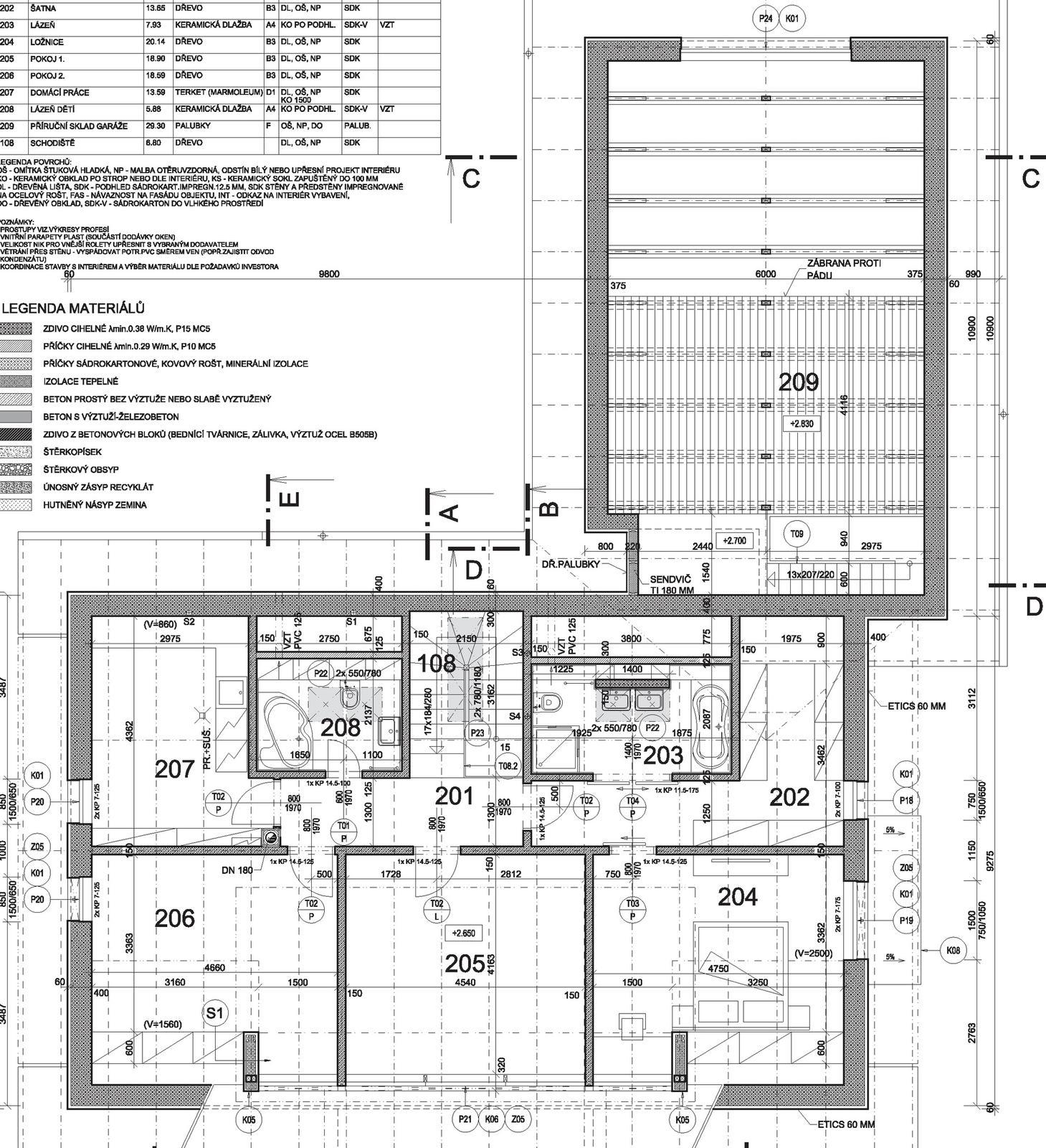 Začínáme..pokračujeme..finišujeme ;-) - obytné podkroví - 201 chodba; 202 šatna; 203 a 208 koupelny; 204 ložnice; 205 a 206 dětské pokoje; 207 prádelna, žehlírna...