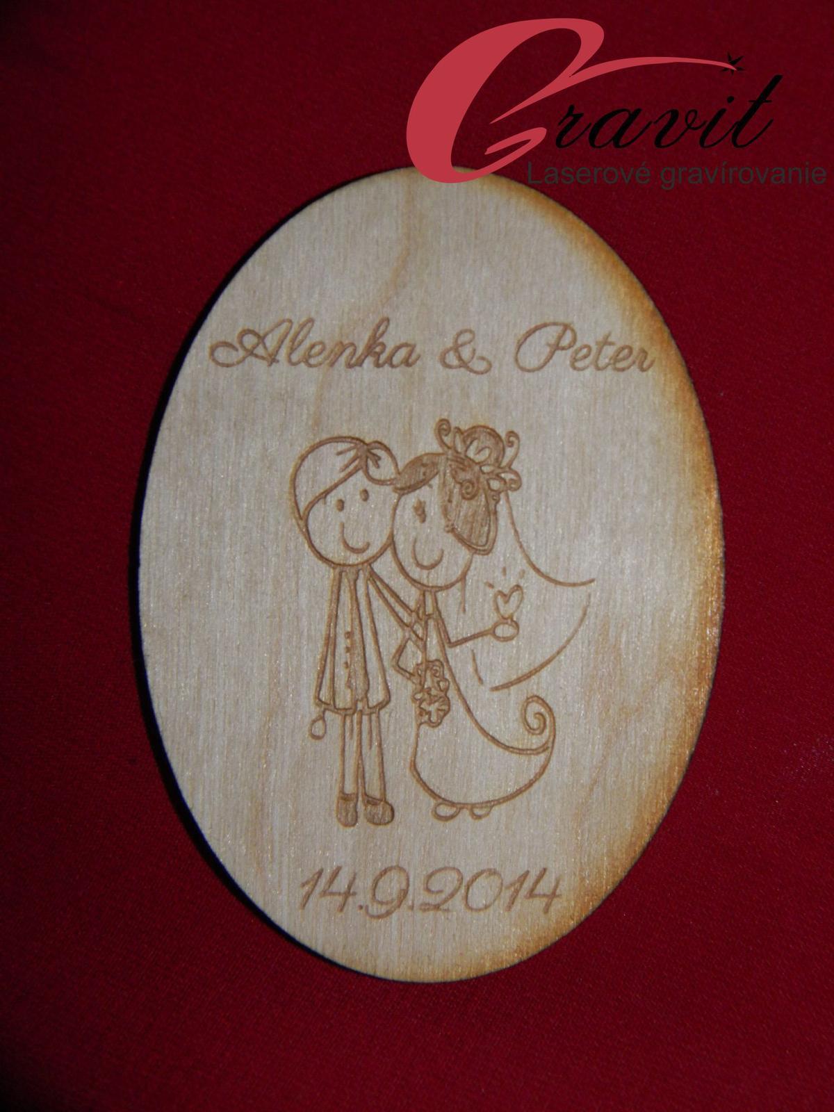 Drevená magnetka ako darček svadobčanom 20 - Obrázok č. 1