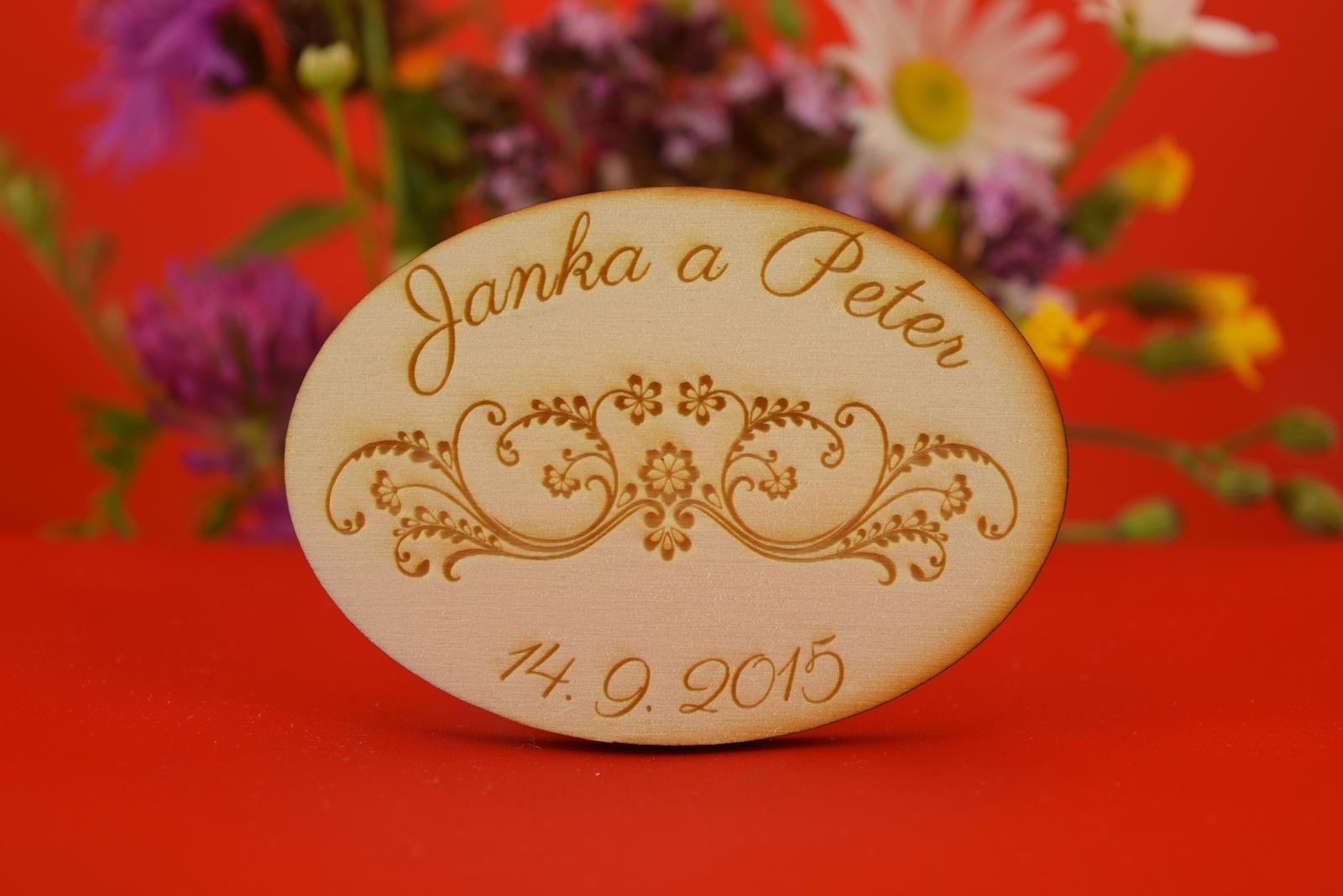 Drevená svadobná agnetka ako darček pre hosti 22 - Obrázok č. 1