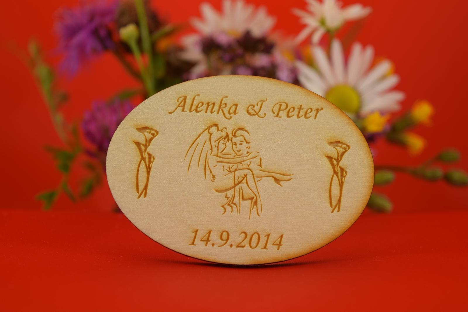 Drevená svadobná magnetka ako darček pre hosti 5 - Obrázok č. 1