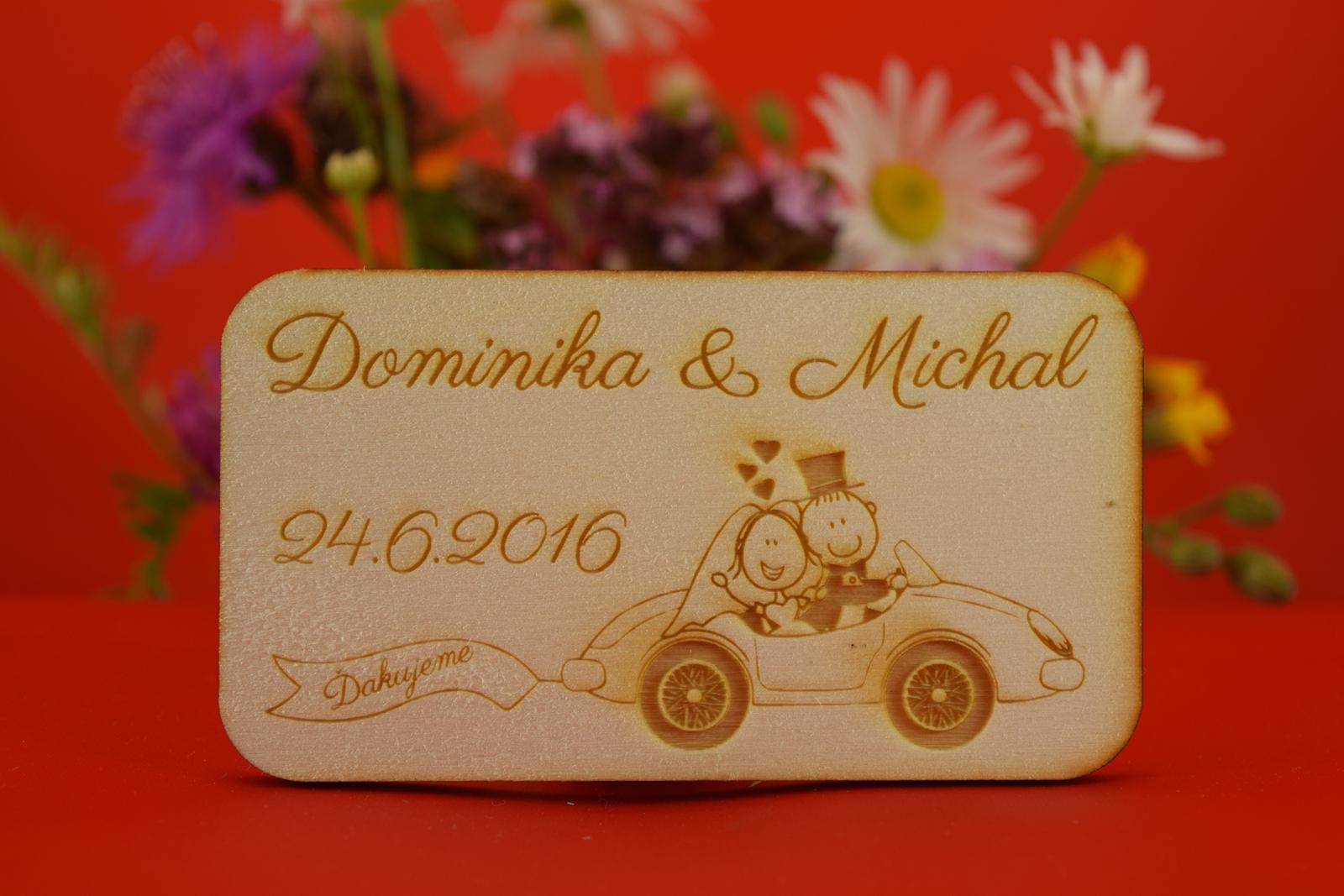 Drevená svadobná magnetka ako darček pre hosti 36 - Obrázok č. 1