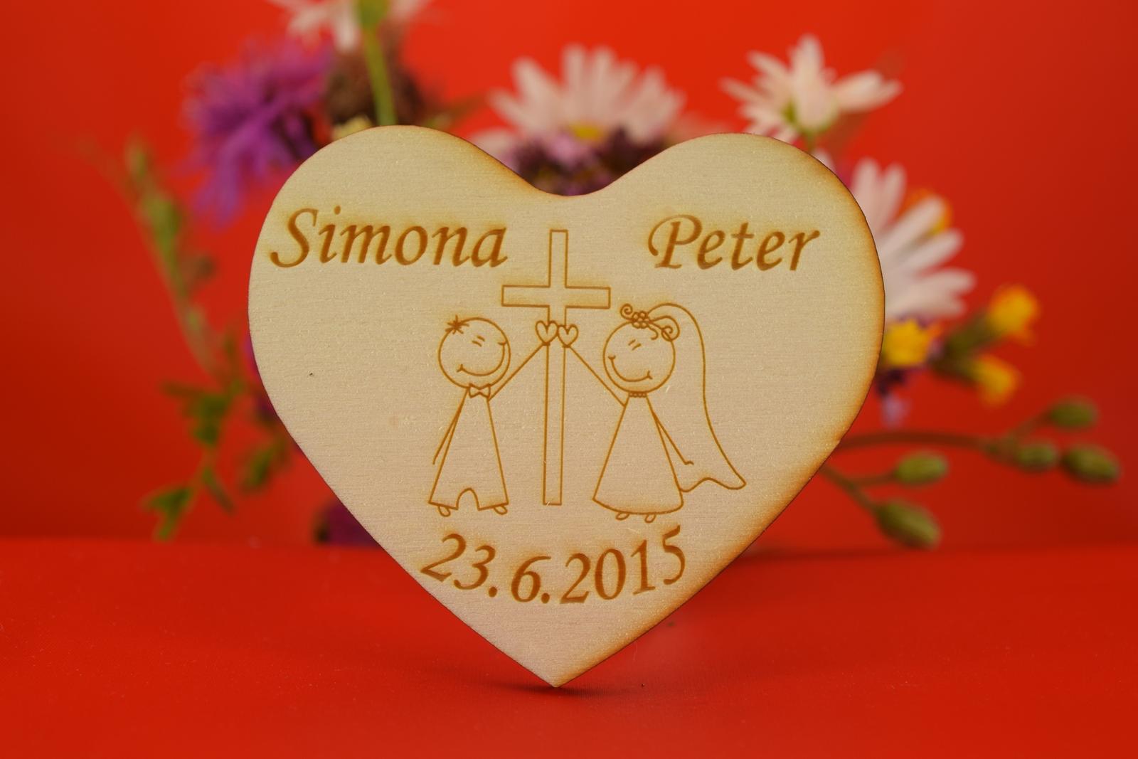 Drevená svadobná magnetka ako darček pre hosti 42 - Obrázok č. 1