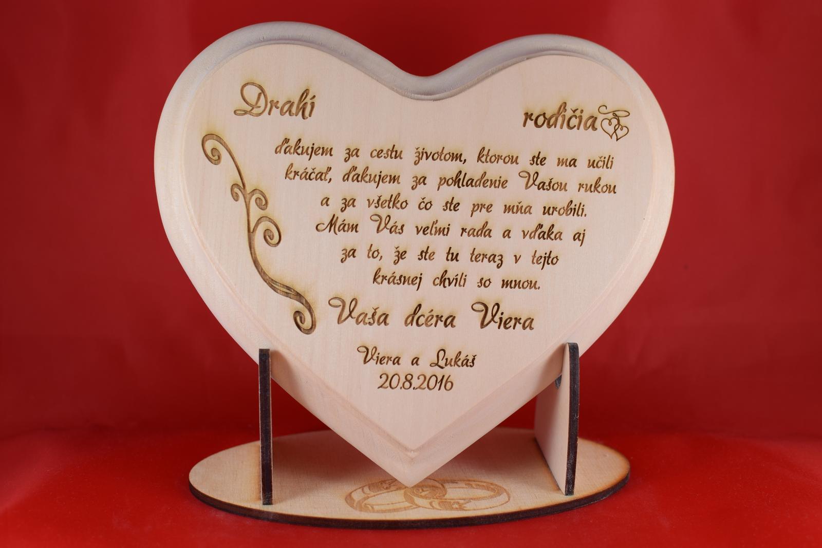 Drevene srdiečko ako poďakovanie rodičom lipove  - Obrázok č. 2