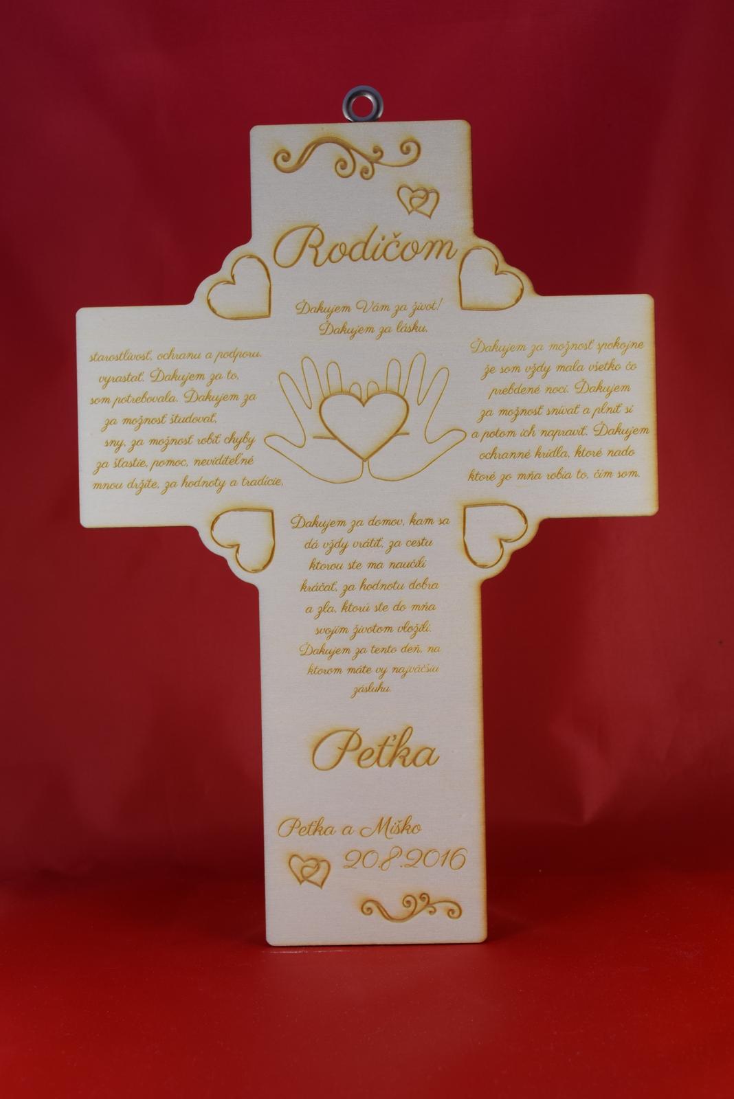 Drevený krížik ako poďakovanie rodičom 1 - Obrázok č. 1