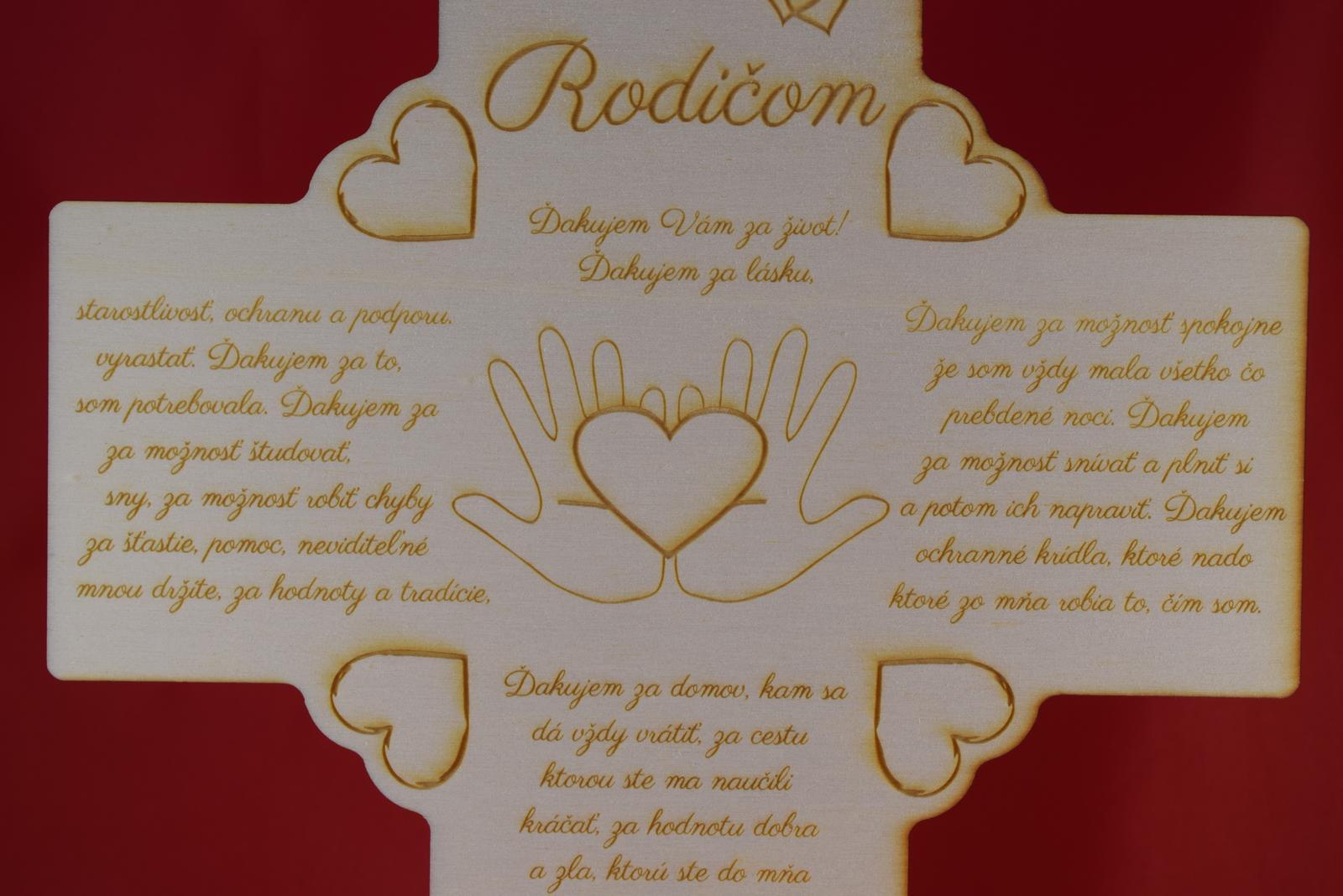 Drevený krížik ako poďakovanie rodičom 1 - Obrázok č. 2