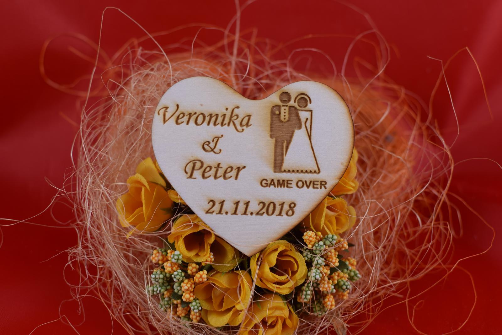 Drevená svadobná magnetka ako darček pre hosti 57 - Obrázok č. 1