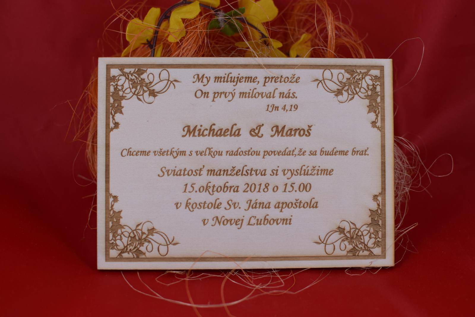 Drevené svadobné oznamenie gravírované 1 - Obrázok č. 1