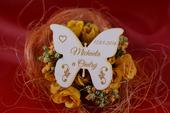 Drevená svadobná magnetka motýľ 1,