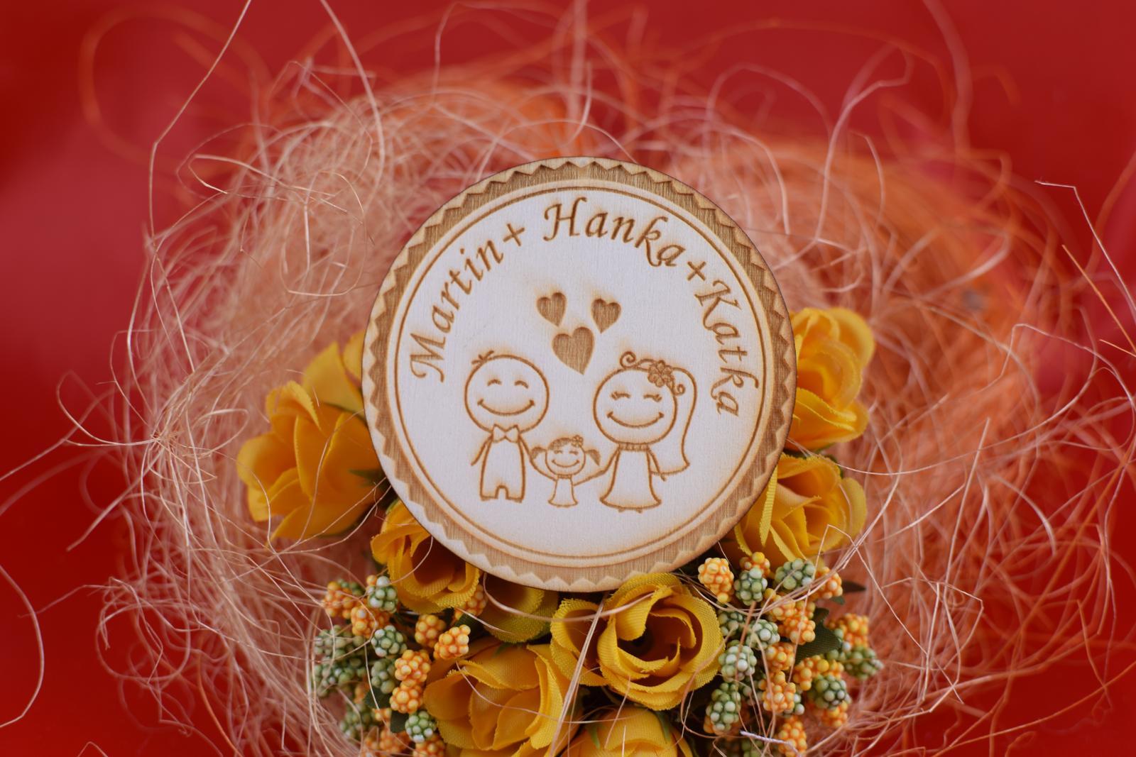 Drevená svadobný magnetka ako darček pre hosti 35 - Obrázok č. 1