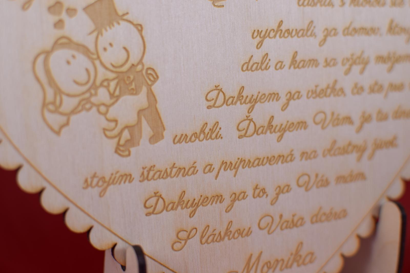 Drevené gravírované srdiečko ako darček rodičom 42 - Obrázok č. 3