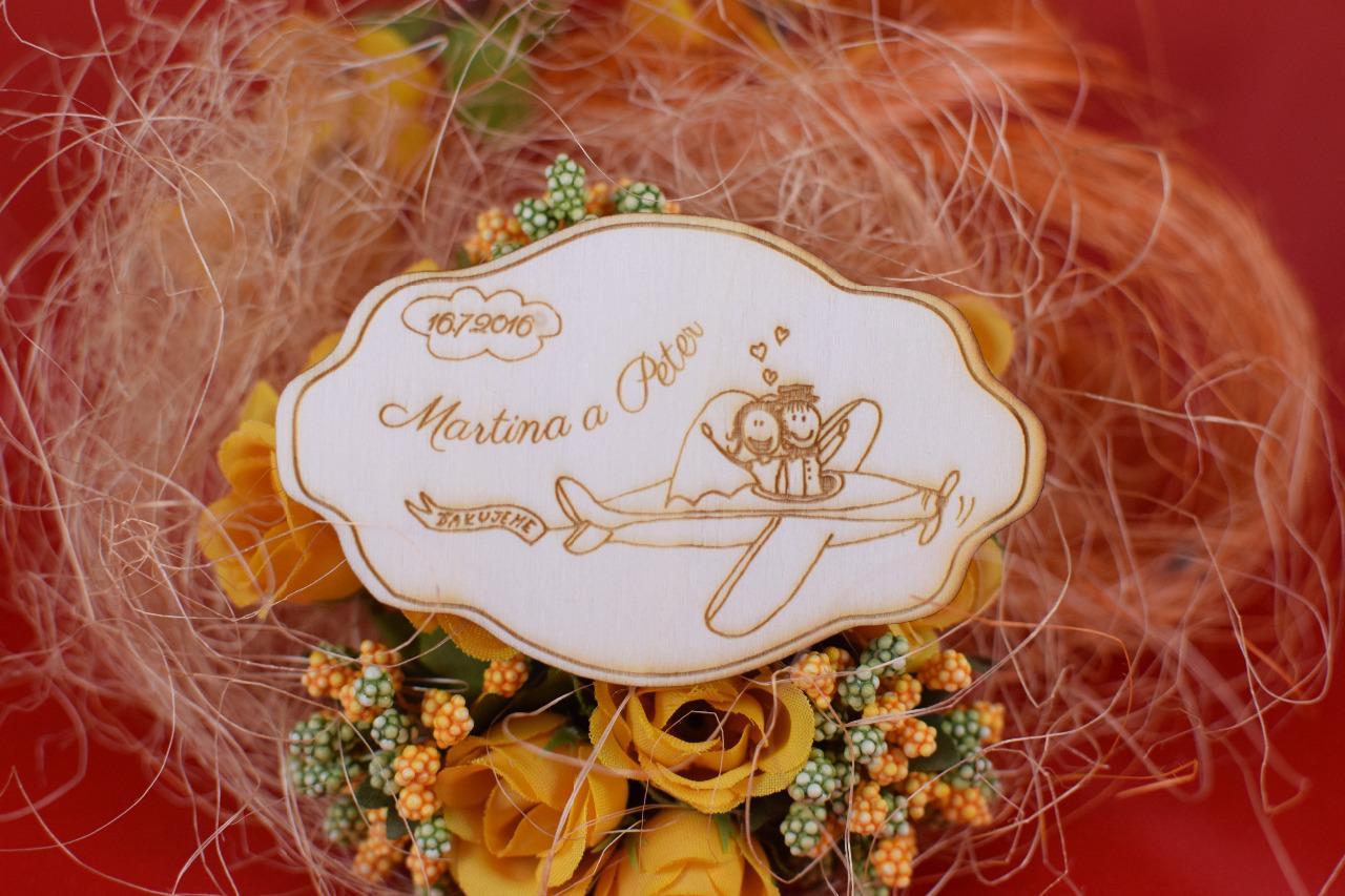 Svadobná drevená magnetka na redový tanec 76 - Obrázok č. 1