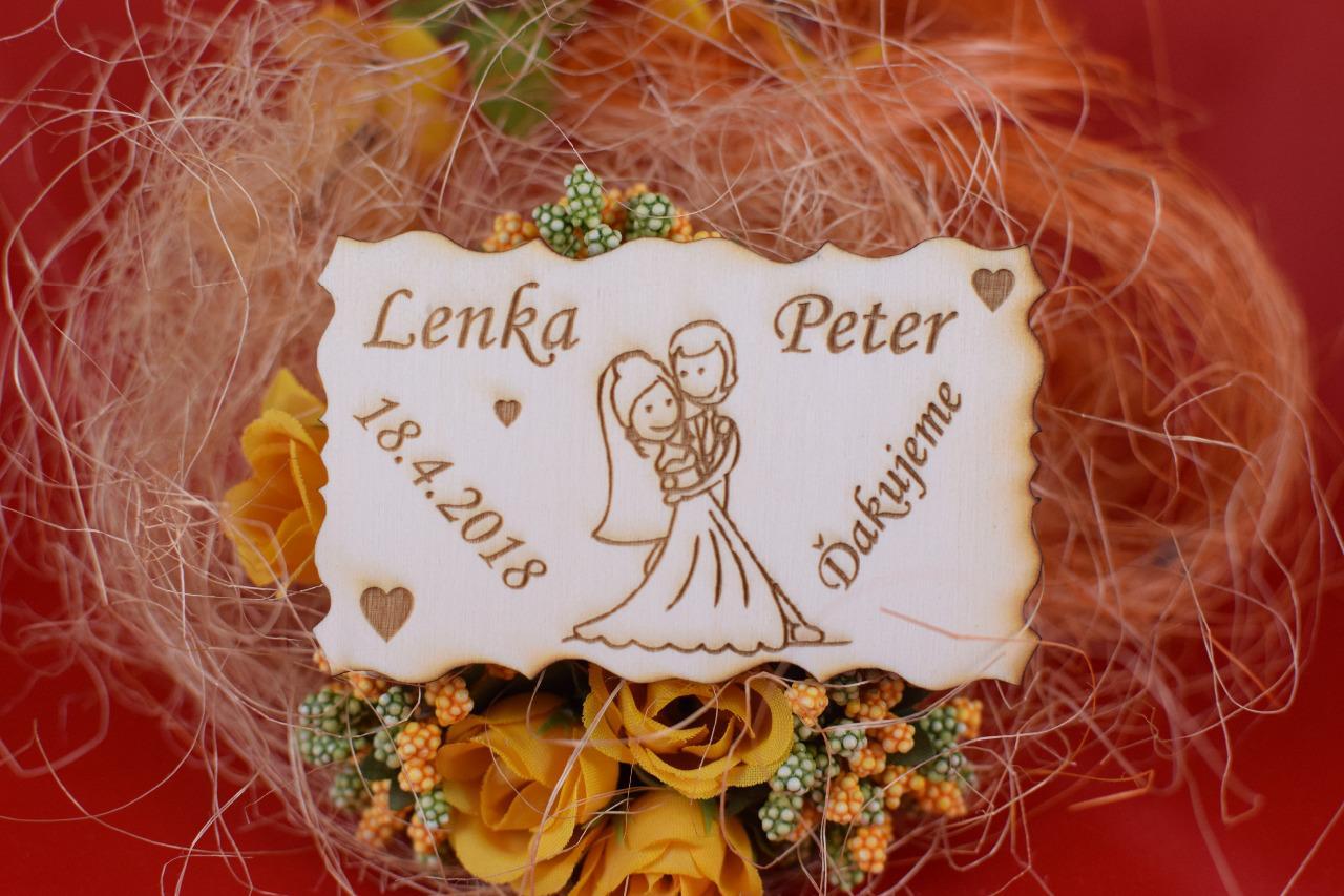 Drevená svadobná magnetka darček hosťom 78 - Obrázok č. 1