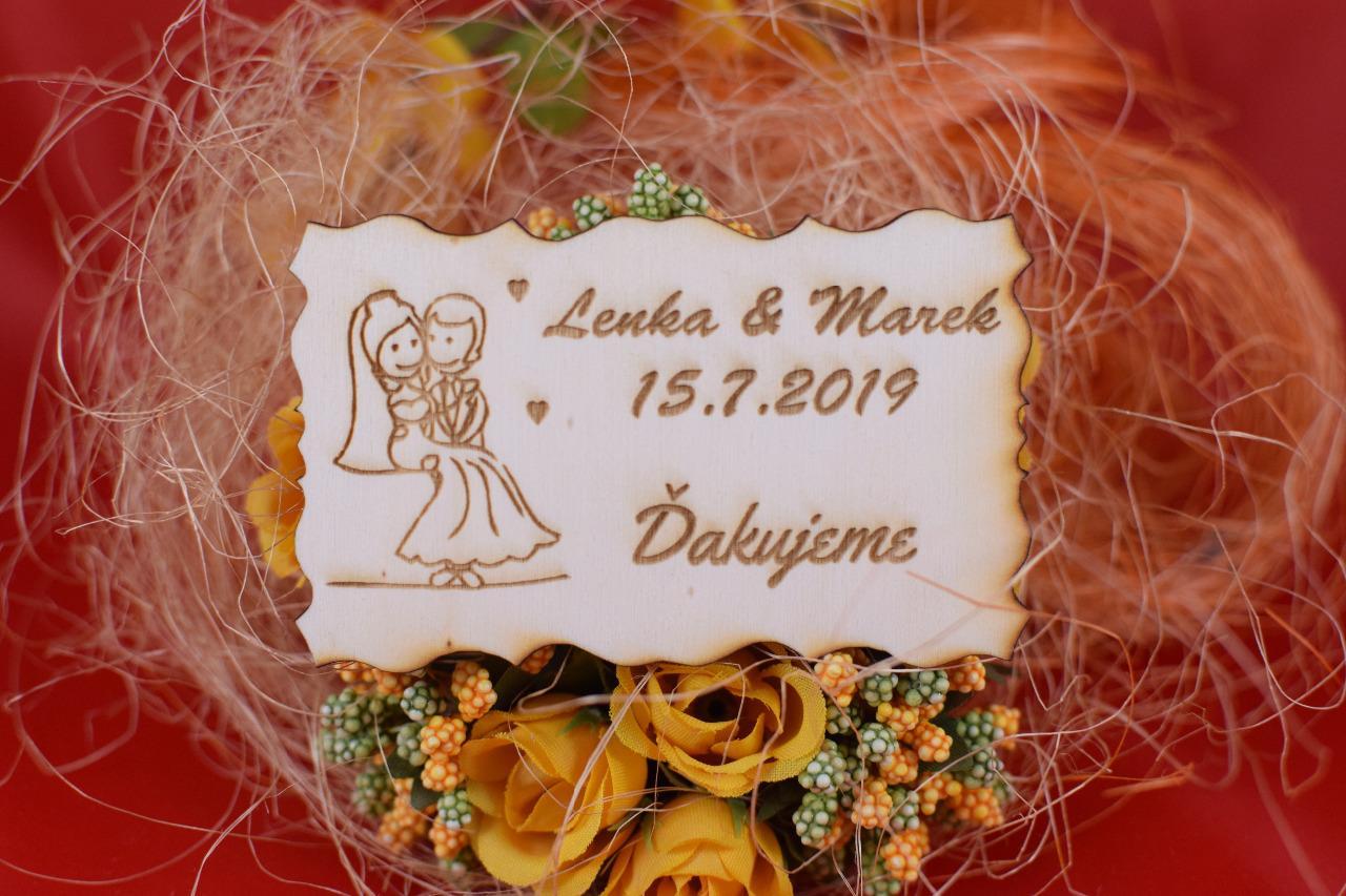 Drevená svadobná magnetka darček hosťom 79 - Obrázok č. 1