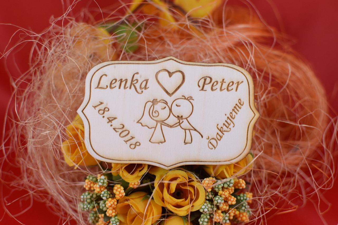 Drevená svadobná magnetka darček hosťom 80 - Obrázok č. 1