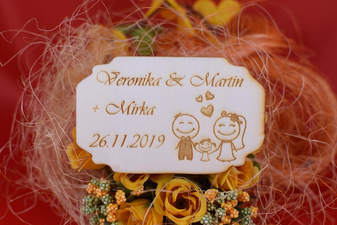 Drevená svadobná magnetka darček hosťom 82 - Obrázok č. 1