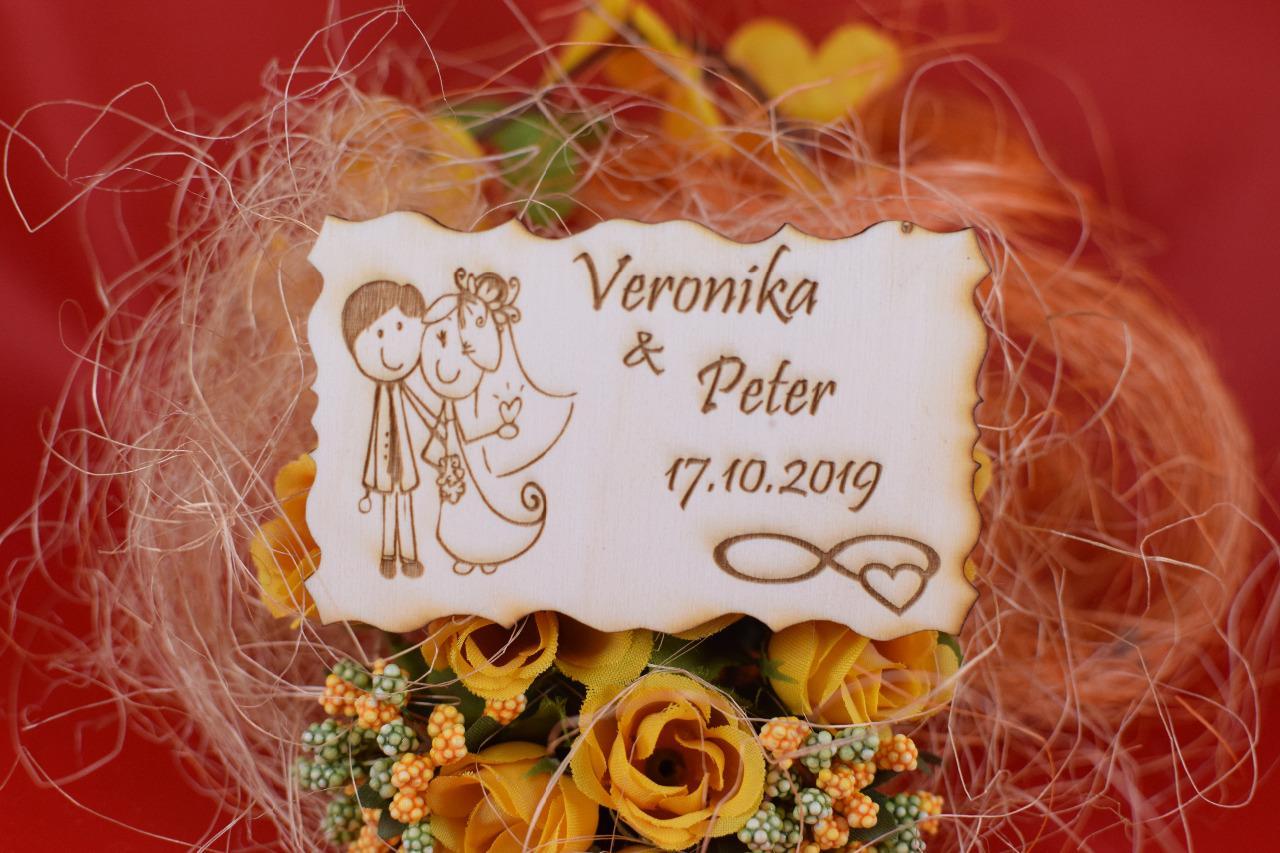 Drevená svadobná magnetka darček hosťom 83 - Obrázok č. 1
