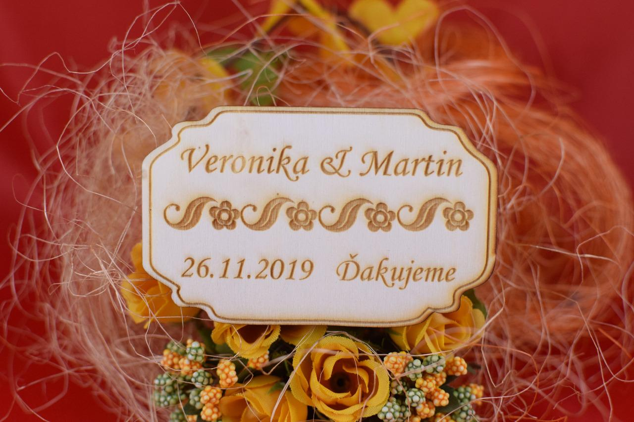 Drevená svadobná magnetka darček hosťom 86 - Obrázok č. 1