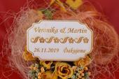 Drevená svadobná magnetka darček hosťom 86,